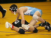 Kevin Hartnett and Marc Arcara wrestle at the 119 weight class during the NY State Wrestling Championships at Blue Cross Arena on March 8, 2008 in Rochester, New York.  (Copyright Mike Janes Photography)