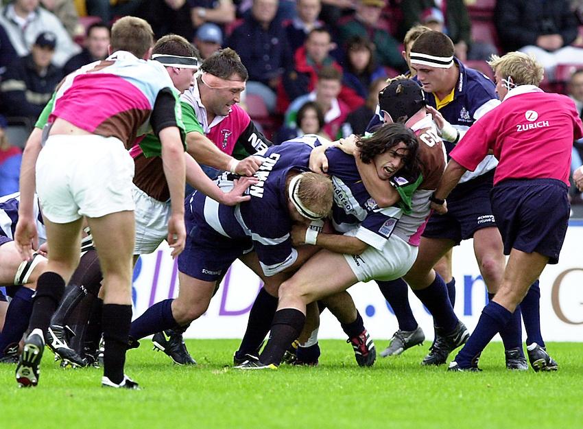 Photo. Richard Lane. .Harlequins v Bristol. Zurich Premiership. 16/9/2000.Agustin Pichot is taken around the neck by Steve White-Cooper.