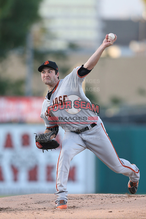 Ryan Bradley #21 of the San Jose Giants pitches against the Inland Empire 66ers at San Manuel Stadium on May 31, 2014 in San Bernardino, California. Inland Empire defeated San Jose, 4-0. (Larry Goren/Four Seam Images)