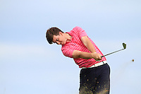John Hickey (Cork) on the 16th tee during Round 3 of The South of Ireland in Lahinch Golf Club on Monday 28th July 2014.<br /> Picture:  Thos Caffrey / www.golffile.ie