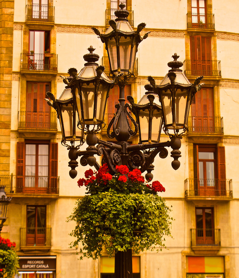 Barcelona, Spain, Lamps, Plaza and Medieval Buildings