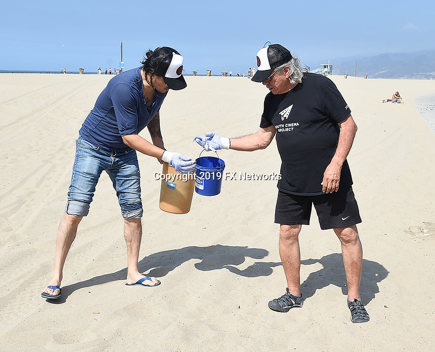 SANTA MONICA - SEPTEMBER 9: Antonio Jaramillo and Edward James Olmos volunteer for FX and Disney's Summer of Service Beach Cleanup with Heal the Bay on September 9, 2019 in Santa Monica, California. (Photo by Frank Micelotta/FX/PictureGroup)