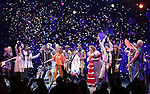 The Go-Go's: Charlotte Caffey, Belinda Carlisle, Kathy Valentine and Jane Wiedlin perform with the cast during a special curtain call at Broadway's 'Head Over Heels' on July 12, 2018 at the Hudson Theatre in New York City.