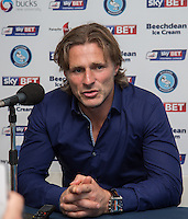Wycombe Wanderers Manager Gareth Ainsworth gives a post match interview during the Sky Bet League 2 match between Wycombe Wanderers and Hartlepool United at Adams Park, High Wycombe, England on 5 September 2015. Photo by Andy Rowland.