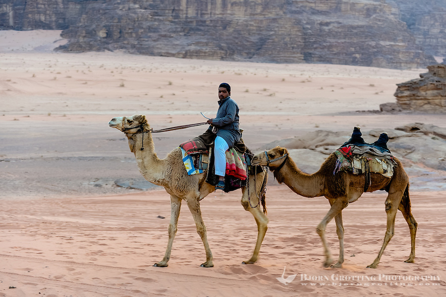 Jordan. Wadi Rum is also known as The Valley of the Moon. Heading for the bedouin camp.