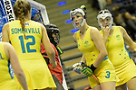 Berlin, Germany, February 09: During the FIH Indoor Hockey World Cup Pool B group match between Germany (black) and Australia (yellow) on February 9, 2018 at Max-Schmeling-Halle in Berlin, Germany. Final score 2-2. (Photo by Dirk Markgraf / www.265-images.com) *** Local caption *** Tamsin BUNT #3 of Australia