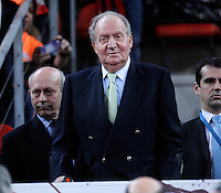 KIng Juan Carlos I of Spain  (c) and the Minister of Education, Culture ans Sports Jose Ignacio Wert (l) during the Spanish Basketball King's Cup Final match.February 07,2013. (ALTERPHOTOS/Acero)