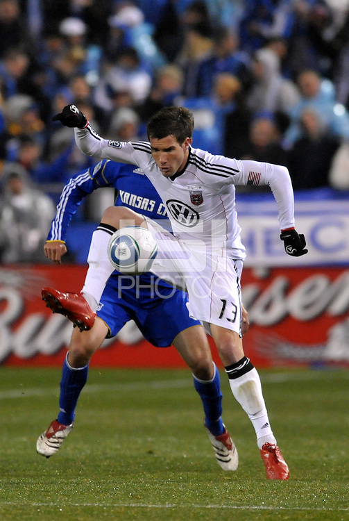 Chris Pontius (13) controls the ball...Kansas City Wizards defeated DC United 4-0 in their season opener, at Community America Ballpark in Kansas City, Kansas.