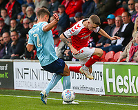 Fleetwood Town's Ashley Hunter is tackled by Accrington Stanley's Callum Johnson<br /> <br /> Photographer Alex Dodd/CameraSport<br /> <br /> The EFL Sky Bet League One - Fleetwood Town v Accrington Stanley - Saturday 15th September 2018  - Highbury Stadium - Fleetwood<br /> <br /> World Copyright &copy; 2018 CameraSport. All rights reserved. 43 Linden Ave. Countesthorpe. Leicester. England. LE8 5PG - Tel: +44 (0) 116 277 4147 - admin@camerasport.com - www.camerasport.com