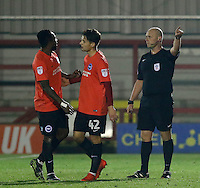 Brighton's Kazenga Lua Lua' is given his marching orders during the The Checkatrade Trophy match between AFC Wimbledon and Brighton & Hove Albion Under 21s at the Cherry Red Records Stadium, Kingston, England on 6 December 2016. Photo by Carlton Myrie / PRiME Media Images