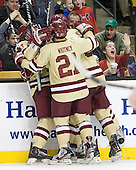 Bill Arnold (BC - 24), Steven Whitney (BC - 21), Patrick Wey (BC - 6) - The Boston College Eagles defeated the Northeastern University Huskies 7-1 in the opening round of the 2012 Beanpot on Monday, February 6, 2012, at TD Garden in Boston, Massachusetts.