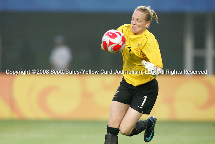 06 August 2008: Jenny Bindon (NZL).  The women's Olympic team of New Zealand tied the women's Olympic soccer team of Japan 2-2 at Qinhuangdao Olympic Center Stadium in Qinhuangdao, China in a Group G round-robin match in the Women's Olympic Football competition.