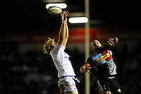 George Robson of Harlequins and Richie Gray of Castres Olympique fail to take the lineout ball during the European Rugby Champions Cup  Round 1 match between Harlequins and Castres Olympique at the Twickenham Stoop on Friday 17th October 2014 (Photo by Rob Munro)