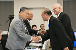 (L-R) Yoshiro Mori, Fujio Mitarai, Tsutomu Takebe, Kevin Dornberger, AUGUST 7, 2015 : The Tokyo 2020 Organising Committee interviews members of the World Bowling (WB), as it considers new events for inclusion in the 2020 Tokyo Olympic Games, Tokyo, Japan. (Photo by Uta MUKUO/Tokyo2020/AFLO)