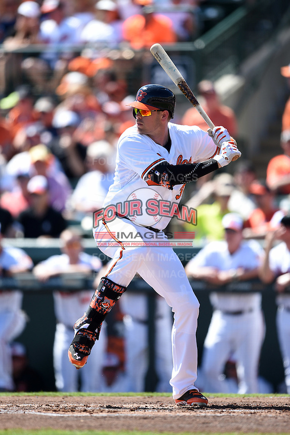 Baltimore Orioles catcher Matt Wieters (32) during a Spring Training game against the Detroit Tigers on March 4, 2015 at Ed Smith Stadium in Sarasota, Florida.  Detroit defeated Baltimore 5-4.  (Mike Janes/Four Seam Images)