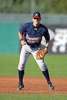 First baseman Alex Abbott (9) of Tift Country High School in  Tifton, Georgia playing for the Atlanta Braves scout team during the East Coast Pro Showcase on August 1, 2013 at NBT Bank Stadium in Syracuse, New York.  (Mike Janes/Four Seam Images)
