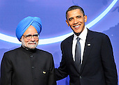 United States President Barack Obama welcomes Prime Minister Manmohan Singh of India to  the Nuclear Security Summit at the Washington Convention Center, Monday, April 12, 2010 in Washington, DC. .Credit: Ron Sachs / Pool via CNP