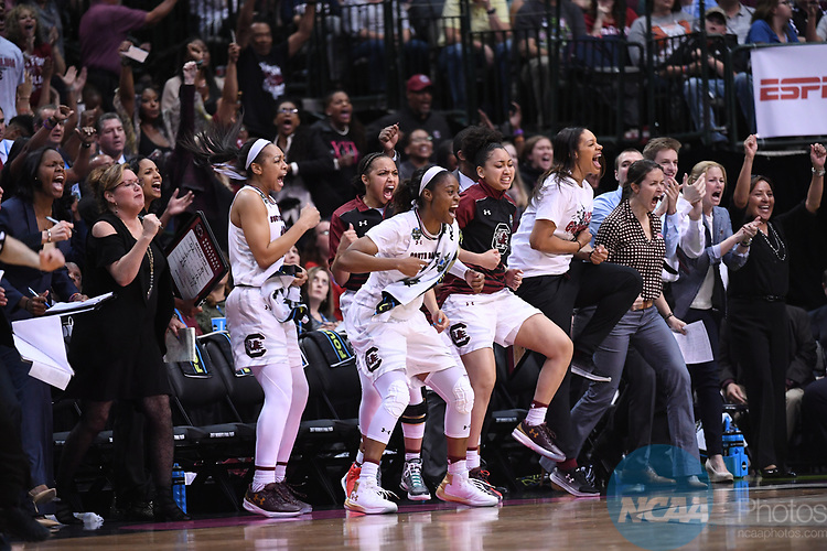 DALLAS, TX - MARCH 31:  The South Carolina bench during the 2017 Women's Final Four at American Airlines Center on March 31, 2017 in Dallas, Texas. (Photo by Justin Tafoya/NCAA Photos via Getty Images)