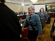 Washington, DC - January 22, 2014: Kathleen Sebelius, U.S. Secretary of Health and Human Services, leaves a meeting of the U.S. Conference of Mayors January 22, 2014.  (Photo by Don Baxter/Media Images International)