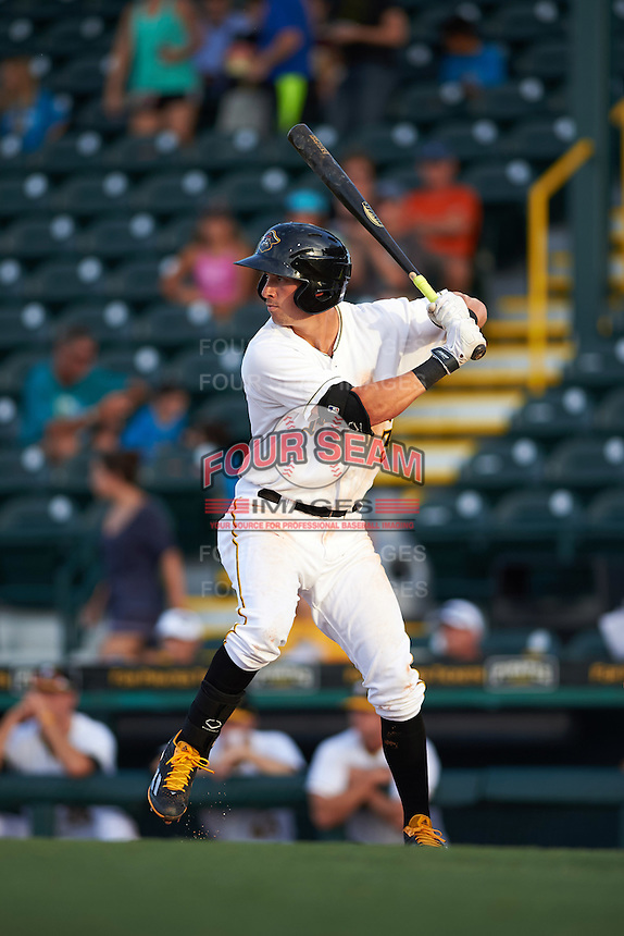Bradenton Marauders second baseman Michael Fransoso (3) at bat during a game against the Jupiter Hammerheads on August 4, 2015 at McKechnie Field in Bradenton, Florida.  Jupiter defeated Bradenton 9-3.  (Mike Janes/Four Seam Images)