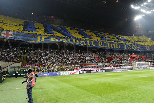 02 04 2011  Series A.  AC Milan versus  Inter Milan, Italy.  Photo shows the banner waving and large crowd flag from the Inter Milan supporters before the game