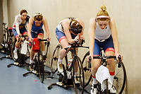 Picture by SWpix.com - 01/03/2018 - Cycling - 2018 UCI Track Cycling World Championships, Day 2 - Omnisport, Apeldoorn, Netherlands - Women's Team Pursuit First Round - Eleanor Dickinson, Katie Archibald, Laura Kenny and Elinor Barker of Great Britain warm up