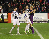 Lee Mair (left) and Kenny MCLean praise goalkeeper Craig Samson after winning the penalty shoot out in the Aberdeen v St Mirren Scottish Communities League Cup match played at Pittodrie Stadium, Aberdeen on 30.10.12.