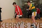 Jerry Cronin from Tureencahill, Glenveguilla along with his Cork opponent Michael Healy from Ballydesmond who played the first game in the new handball ally in Ballydesmond which was officially opened last Sunday afternoon.
