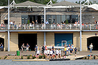Eton,  GREAT BRITAIN. General Views, Eton Boat House balcony and Boating   stages, at the Eton Course,  Eton Schools' Regatta, Eton Rowing Centre, Dorney Lake. [Finish of cancelled National Schools Regatta], Saturday, 07/06/2008  [Mandatory Credit:  Peter SPURRIER / Intersport Images]. Rowing Courses, Dorney Lake, Eton. ENGLAND Eton College, Boat house,