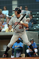 Jacob Julius #34 of the Frederick Keys at bat during a game against the Myrtle Beach Pelicans on May 1, 2010 in Myrtle Beach, SC.