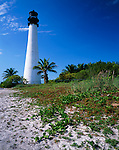 Key Biscayne, FL<br /> Cape Florida Lighthouse(1825) overlooking Biscayne Bay and the Atlantic Ocean from Bill Baggs State Recreation Area