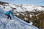 Spring skiing at Alpine Meadows ski resort, California, Lake Tahoe.