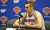 Mario Hezonja of the New York Knicks fields questions during the team's Media Day held at Madison Square Garden Training Center in Greenburgh, NY on Monday, Sept. 24, 2018.