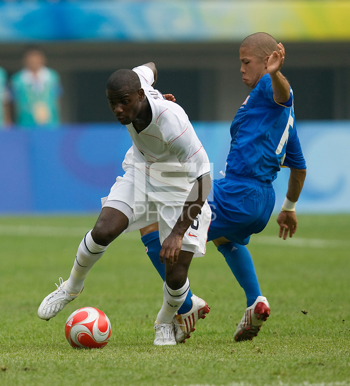 Takayuki Morimoto, Maurice Edu. The US defeated Japan, 1-0, during first round play in group B at the 2008 Beijing Olympics in Tianjin, China.