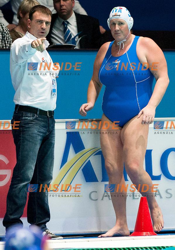 Eindhoven , Netherlands (Netherlands) 16 - 29 January 2012.LEN European  Water Polo Championships 2012.Day 11 - Women.ITA (White) - RUS (Blue)..ITA.3 CASANOVA Elisa.CONTI Fabio..Photo Insidefoto / Giorgio Scala