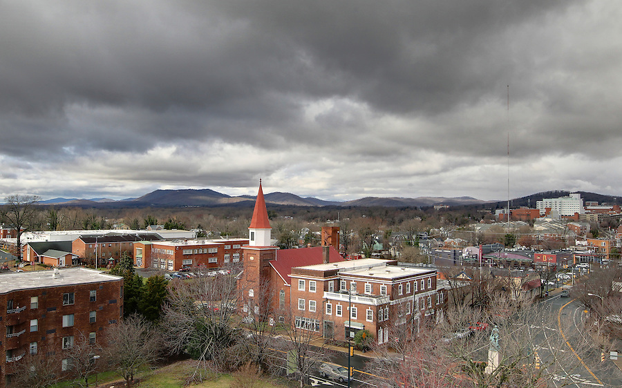 A westward view overlooking West Main Street and Ridge Street located in Downtown Charlottesville, VA. Photo/Andrew Shurtleff