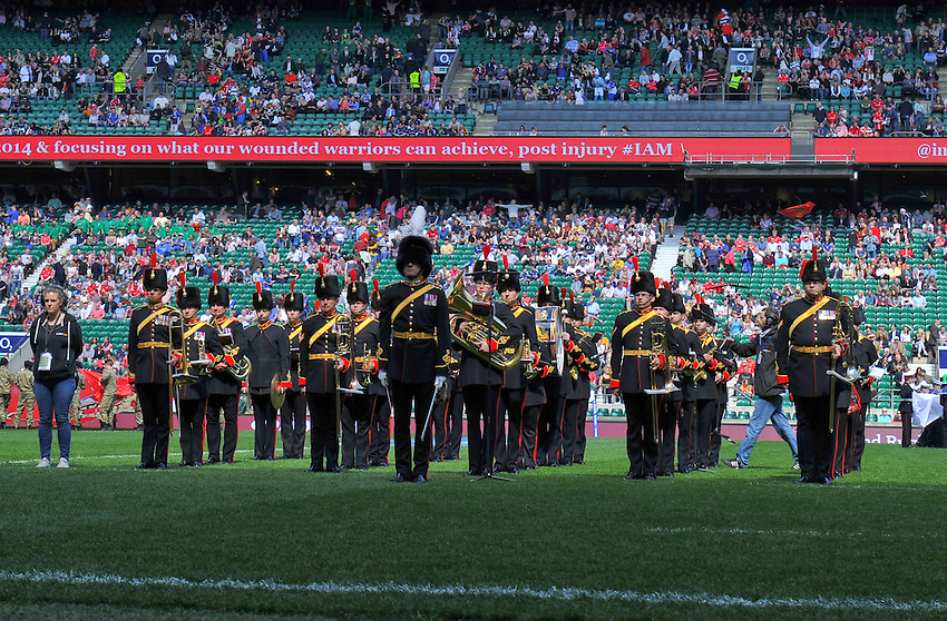 Members of the Band of the Royal Artillery<br /> <br /> Photographer Ashley Western/CameraSport<br /> <br /> Rugby Union - Babcock Trophy - Army v Navy - Saturday 3rd May 2014 - Twickenham - London<br /> <br /> &copy; CameraSport - 43 Linden Ave. Countesthorpe. Leicester. England. LE8 5PG - Tel: +44 (0) 116 277 4147 - admin@camerasport.com - www.camerasport.com