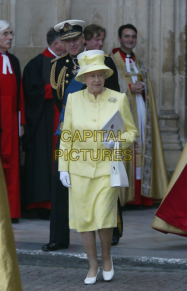 HM THE QUEEN - ELIZABETH THE 2ND, II & PRINCE PHILLIP.60th Anniversary Of End Of World War 2.National Commemoration Day.London 10 July 2005 .Ref: FNW.WWII two hat royalty full length yellow dress suit Philip uniform.www.capitalpictures.com.sales@capitalpictures.com.© Capital Pictures.