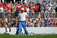 Justin Thomas (USA) approaches the green on 18 and acknowledges the roar of the crowd during Rd4 of the 2019 BMW Championship, Medinah Golf Club, Chicago, Illinois, USA. 8/18/2019.<br /> Picture Ken Murray / Golffile.ie<br /> <br /> All photo usage must carry mandatory copyright credit (© Golffile | Ken Murray)