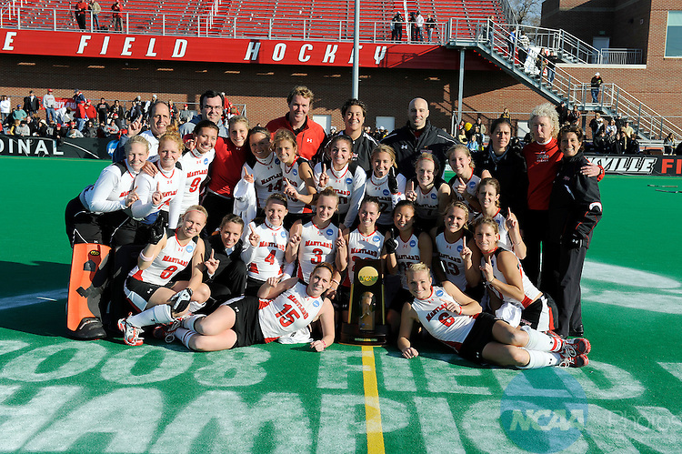 23 NOV 2008: The University of Maryland poses with the National Championship trophy after their 4-2 victory over Wake Forest University during the Division I Women's Field Hockey Championship held at Trager Stadium on the University of Louisville campus in Louisville, KY.   Greg Fiume/NCAA Photos
