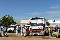 CHAD, Wadai, Abeche,  bus stand, overland buses / TSCHAD, Abeche, Busbahnhof