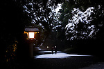 Visitors take an early morning walk down the avenue leading to Meiji Jingu Shrine after the year's first snowfall in Tokyo, Japan on 02 Feb. 2010.