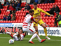 Fleetwood Town's Ched Evans battles with Doncaster Rovers' Joe Wright<br /> <br /> Photographer David Shipman/CameraSport<br /> <br /> The EFL Sky Bet League One - Doncaster Rovers v Fleetwood Town - Saturday 6th October 2018 - Keepmoat Stadium - Doncaster<br /> <br /> World Copyright © 2018 CameraSport. All rights reserved. 43 Linden Ave. Countesthorpe. Leicester. England. LE8 5PG - Tel: +44 (0) 116 277 4147 - admin@camerasport.com - www.camerasport.com