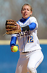 BROOKINGS, SD - APRIL 3:  Katie Lang from South Dakota State winds up for a pitch against Nebraska Omaha Friday afternoon in Brookings. (Photo by Dave Eggen/Inertia)