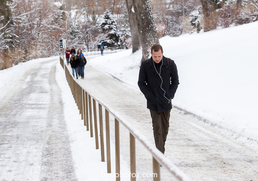 {filename base}<br /> <br /> 1301-05 Snow covers BYU Campus.<br /> <br /> January 11, 2013<br /> <br /> Photo by Bella Torgerson/BYU Photo<br /> <br /> &copy; BYU PHOTO 2012<br /> All Rights Reserved<br /> photo@byu.edu  (801)422-7322