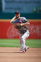 Pawtucket Red Sox second baseman Jantzen Witte (35) throws to first base during an International League game against the Buffalo Bisons on August 25, 2019 at Sahlen Field in Buffalo, New York.  Buffalo defeated Pawtucket 5-4 in 11 innings.  (Mike Janes/Four Seam Images)