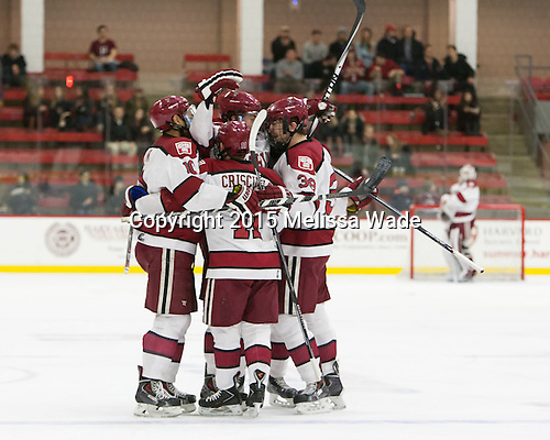 Brayden Jaw (Harvard - 10), Jimmy Vesey (Harvard - 19), Kyle Criscuolo (Harvard - 11) and Brian Hart (Harvard - 39) celebrate. - The Harvard University Crimson defeated the Brown University Bears 4-3 to sweep their first round match up in the ECAC playoffs on Saturday, March 7, 2015, at Bright-Landry Hockey Center in Cambridge, Massachusetts.