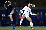 WINSTON-SALEM, NC - NOVEMBER 10: Georgetown's Rachel Corboz (10) and Wake Forest's Monreau DeVos (27). The Wake Forest University Demon Deacons hosted the Georgetown University Hoyas on November 10, 2017 at W. Dennie Spry Soccer Stadium in Winston-Salem, NC in an NCAA Division I Women's Soccer Tournament First Round game. Wake Forest advanced 2-1 on penalty kicks after the game ended in a 0-0 tie after overtime.