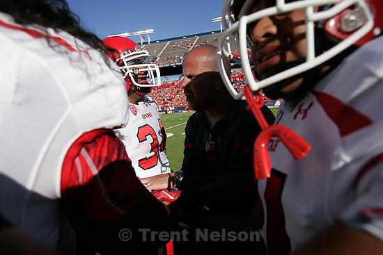 Trent Nelson  |  The Salt Lake Tribune.Utah running backs coach Dave Schramm and players, pregame as Utah faces Arizona, college football at Arizona Stadium in Tucson, Arizona, Saturday, November 5, 2011.