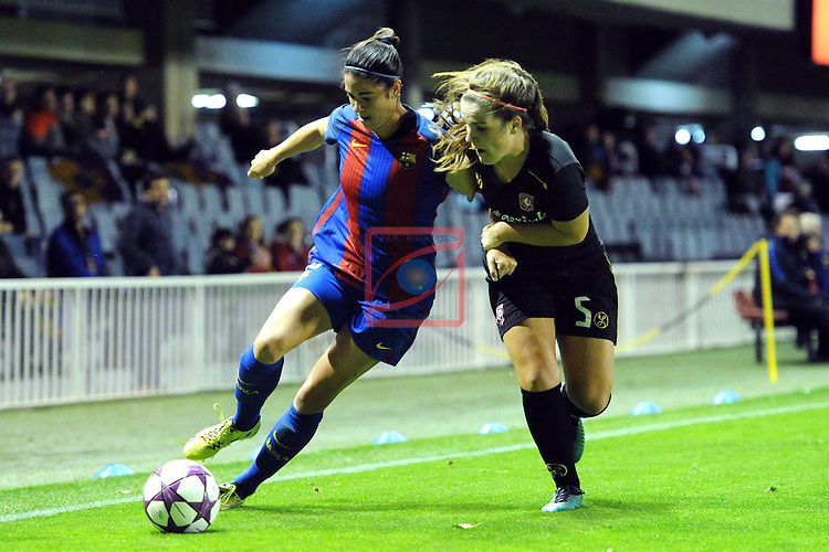 UEFA Women's Champions League 2016/2017.<br /> Round of 16 - First Leg<br /> FC Barcelona vs Twente: 1-0.<br /> Marta Torrejon vs Worm.